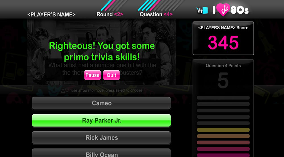 VH1 I Love The 80s TV Trivia Game