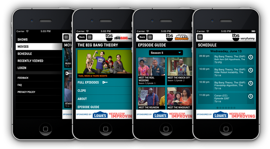 TNT & TBS 2.0 Mobile Apps