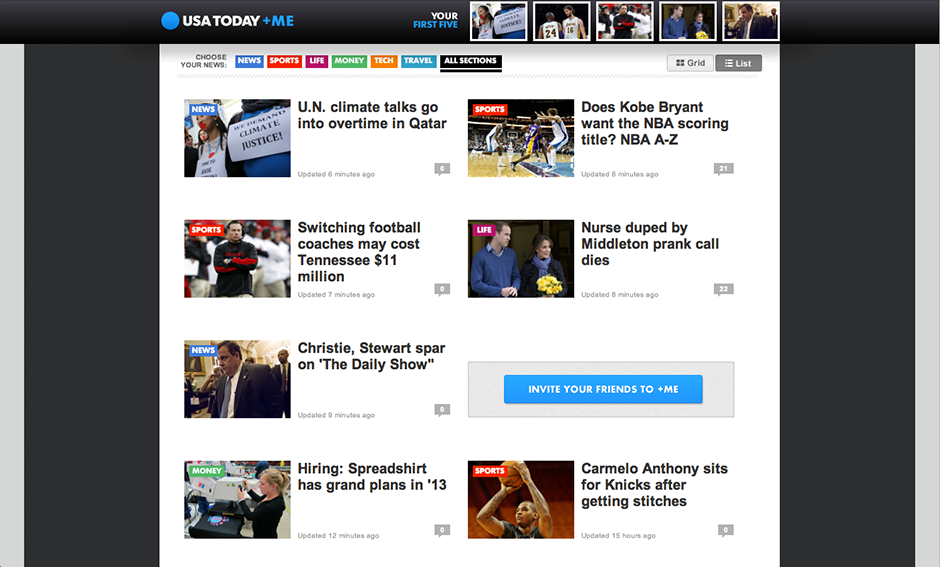 USA Today Facebook App